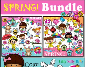 Happy Spring Commercial Use Digital Clipart Images Graphics Designs Garden Turtles Instant Download