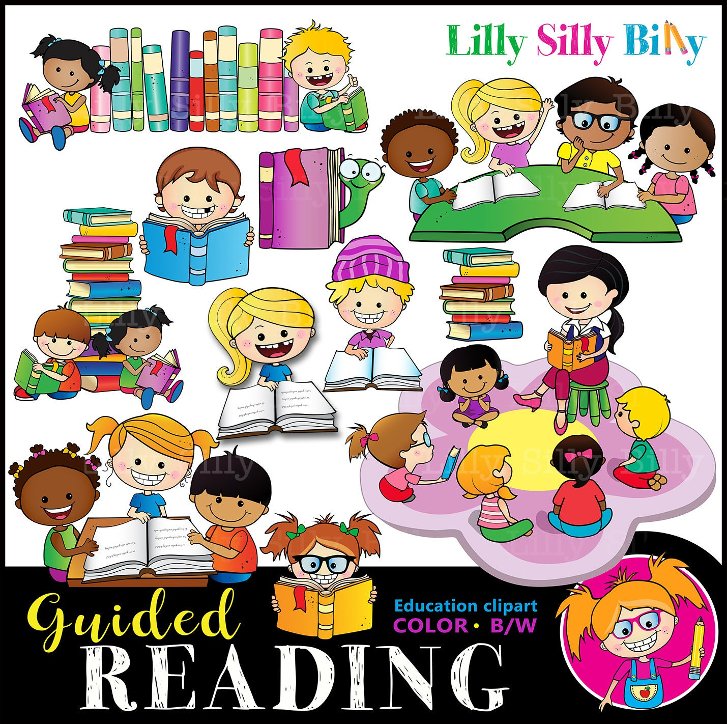 guided reading. black and white and color education graphics   etsy