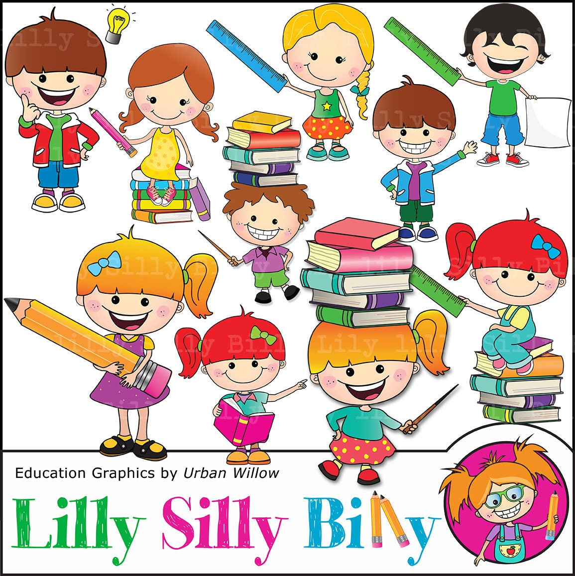 School kids clipart Cute commercial use digital images ...
