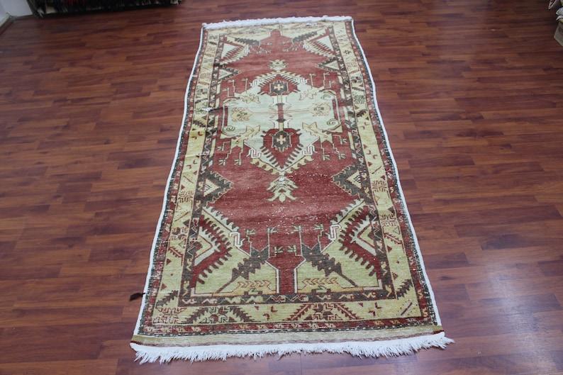 /%100 Wool Rug Turkish Rug 7.4x3.3 ft. Anatolian Design Rug 223x98 cm Oriental Small Size Rug Antique Rug