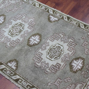 Vintage Bath Mat Small Size Rug Rustic Rug Turkish Rug Wool Doormat 90x50 cm Anatolian Doormat Handmade Doormat 35x19