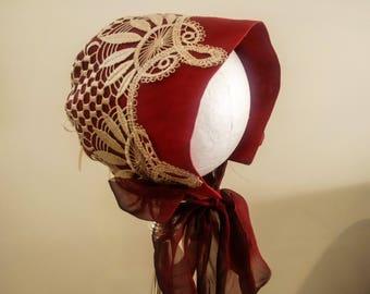 Gorgeous Baby Bonnet - Deep Red & Beige