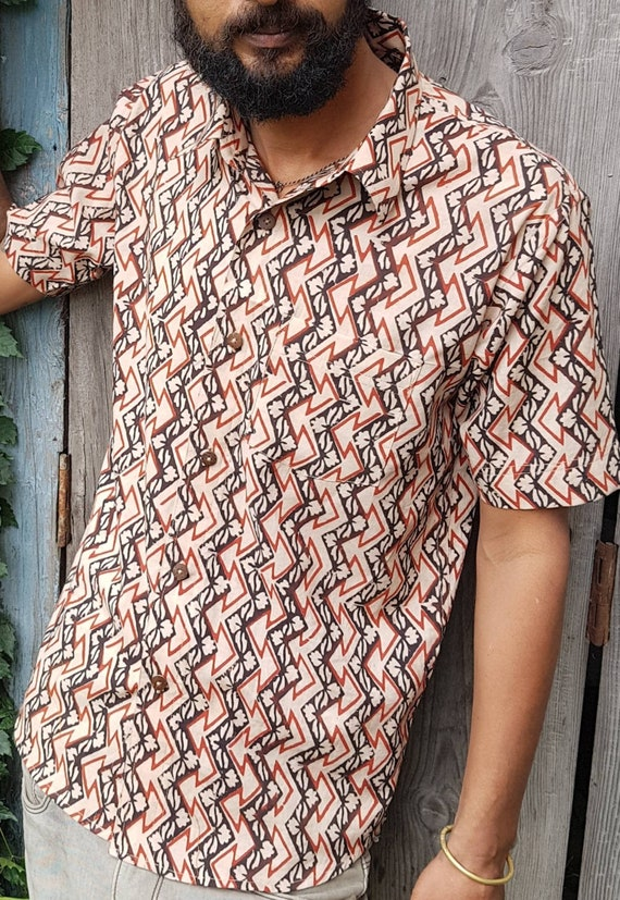 Natural dyed mens cotton half sleeve shirt  hand block print mens cotton shirt