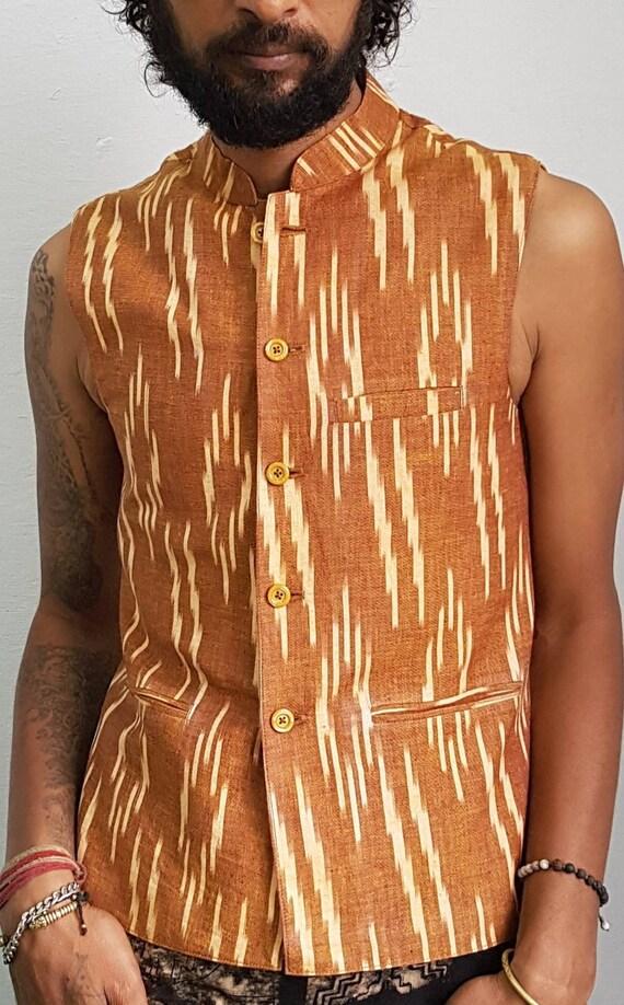 Handgewebte Ikat Stil Baumwolle Nehru Weste, Khadi Weste, Mandarinkragen