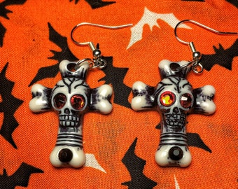 Rhinestone skull and bones cross earrings