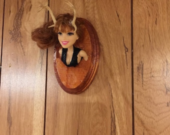 Trophy Wife mounted barbie style doll head antlers miniature mounted taxidermy