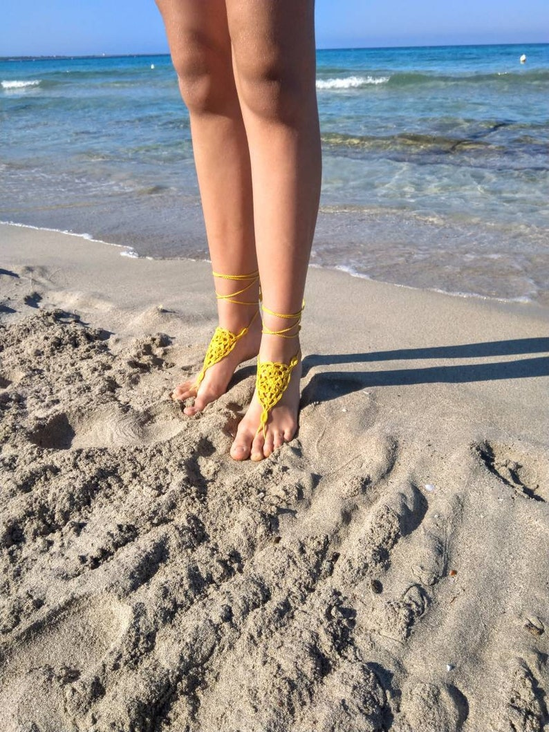 beach parties Tan shoes spa gift idea for bridesmaid crocheted Barefoot sandals in yellow cotton belly dance yoga
