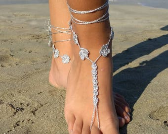Barefoot Sandals Crochet Color Silver jewelry for feet Boho barefoot Sandals