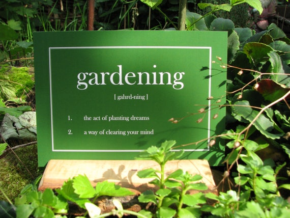 Postcard Gardening Words And Meaning Etsy