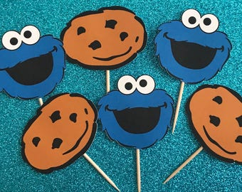 Cookie Monster cupcake toppers, Cookie Monster birthday party, Cookie Monster party, cupcake toppers, set of 24