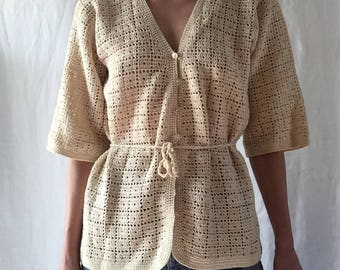 vintage 1970s crochet cardigan with waist tie and buttons