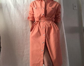 Vintage peach shirt dress with snap buttons