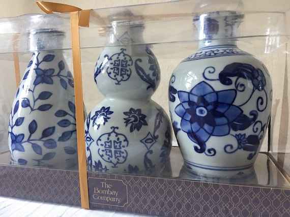 Vintage Bombay Company Blue And White Floral Vase