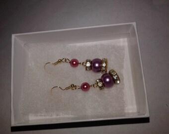 18k gold plated, handmade glass bead Earings