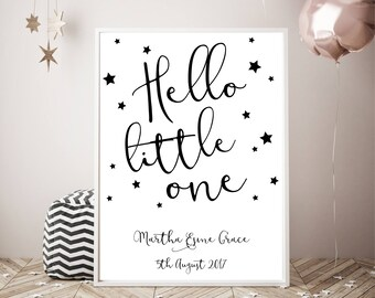 Hello little one, New Baby, Baby Shower Print