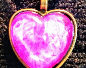 Hand painted necklace - Heart - Pink