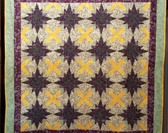 Starlight - paper pieced quilted wallhanging