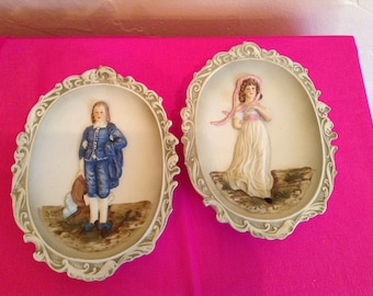 Lefton China Wall plaques,hand painted.KW3504