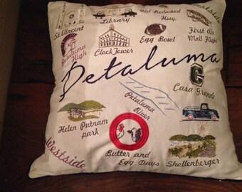 Petaluma Map/Landmark Pillow Cover- Free Shipping