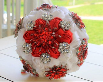 Red bouquet, crimson bouquet, ruby bouquet, red brooch bouquet, brooch bouquet, bridal bouquet, scarlet bouquet, ruby red, Christmas wedding