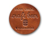 NEW Craft Beer Leather Coaster Many More Styles Home Brewing Keg Coaster Local Bar Brewpub