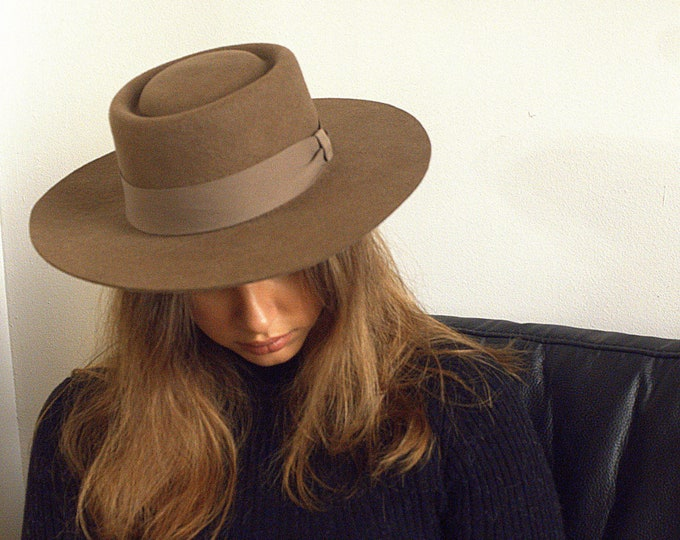 Fedora wool felt - fedora- wool beanie hat- wool hat- wool hat womens- cream fedora hat