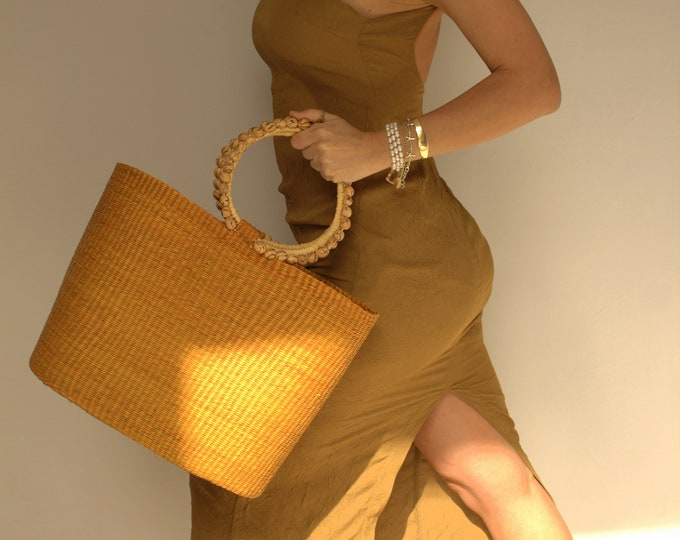 Tote bag, palmitos handles, handmade bag, sustainable bag Bolso Paja Toquilla