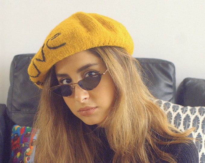 Hand Knit alpaca beanie hat| winter wram wool beanie|Cable knit alpaca beret beanie| warm wool beanie