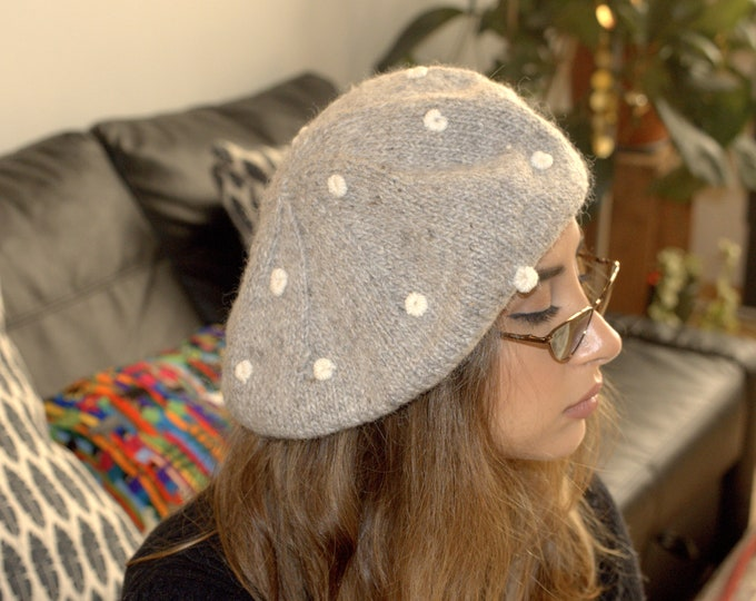 Cable knit alpaca beret beanie| warm wool beanie, Hand Knit alpaca beanie hat| winter wram wool beanie|