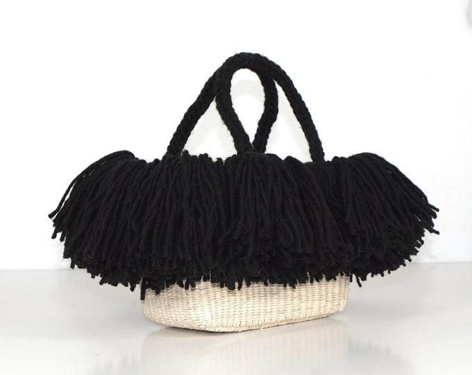 Baby Bag Wool - Bolso de paja toquilla y lana de oveja
