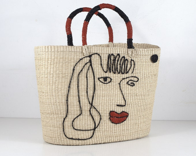 LIPS Bag - bolso de paja Toquilla