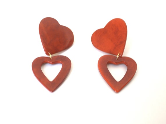 RED HEARTS TAGUA Earrings, Fashion Jewerly