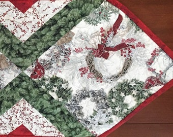Wreath and Cardinal Table Runner Quilt Kit From QuiltieSisterS