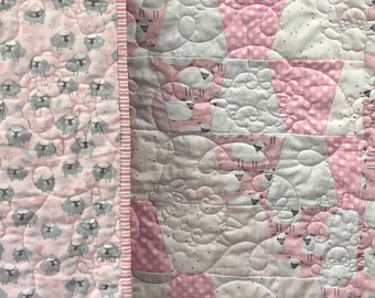 Pink Sheep Quilt Kit, Baby Girl Quilt Kit, Tumbler Quilt Kit, Pink Sheeps Dream Quilt Kit, Baby Quilt Kit from QuiltieSisterS