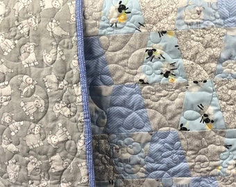 Finished Blue Sheeps Dream Baby Quilt Ready to Ship from QuiltieSisterS