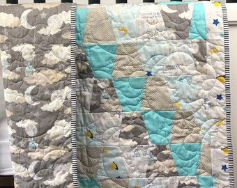 Finished  Sleepytime Baby Quilt Ready to Ship from QuiltieSisters!