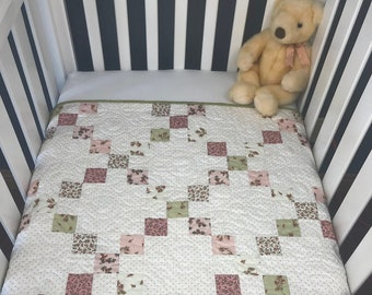 Baby Girl Pink Irish Chain Quilt Kit, Pre-Cut ready to sew from QuiltieSisterS!