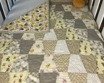 Winnie the Pooh Quilt Kits, Baby Quilt Kit, Modern Baby Quilt Kit , Baby Girl Quilt Kits, Baby Boy Quilt Kit, from QuiltieSisterS