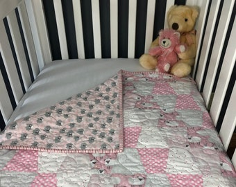 Finished Pink Sheep's Dream Baby Quilt Ready to Ship from QuiltieSisterS