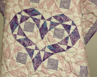 Pink and Purple Heart Quilt, Baby Girl Quilt Kit, Storm at Sea Quilt, Baby Quilt Kits, Cupcake Quilt from QuiltieSisterS