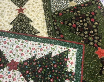 Christmas Tree Table Runner Quilt Kits from QuiltieSisterS.  All pieces pre-cut into shapes...Ready Set Sew!