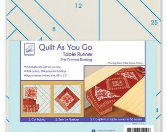 Quilt As You Go Table Runner, Table Runner Pre-Printed Batting, Sewing Project Kit