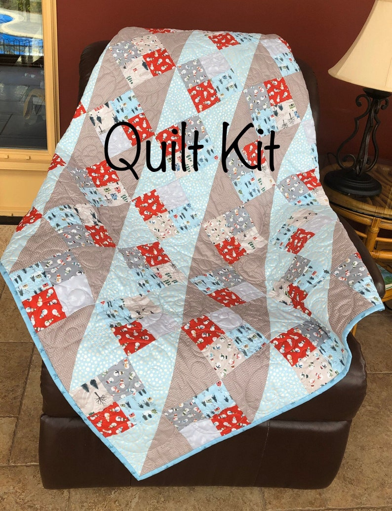 Let It Snow Throw Blanket Quilt Kit From QuiltieSisterS Size image 0