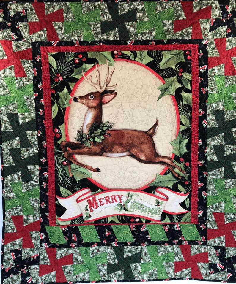 Merry Christmas Reindeer Lap Quilt From QuiltieSisterS image 0