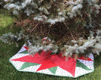 Quilted Christmas Tree Skirt, Large Tree Skirt for Sale, Quilted Tree Skirt for Sale, Ready to Ship from QuiltieSisterS