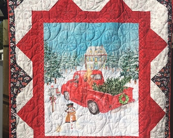 Vintage Red Truck Christmas Lap Quilt Kit From QuiltieSisterS .  Everything in this kit is, pre-cut, ready for you to sew!