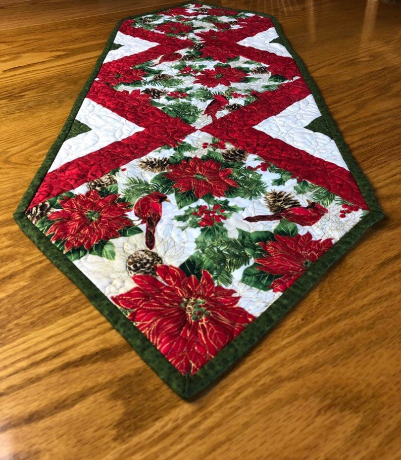 Cardinal and Poinsettia Table Runner Quilt Kit From image 0
