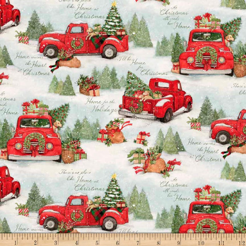 Home for Christmas Red Truck Fabric by Susan Winget image 0