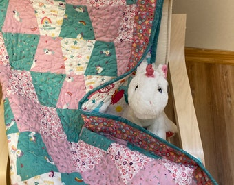 Unicorn Kingdom Baby Quilt Kit, Baby Quilt Kit, Baby Girl Quilt Kit, Pre Cut Baby Quilt Kits, Unicorn Quilt Kit from QuiltieSisterS