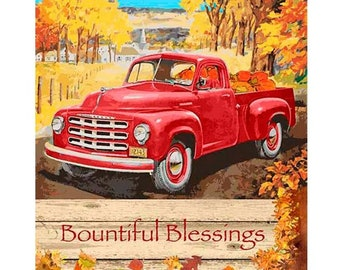 Fall Quilt Panel, Quilting Panels, Sewing Panels, Fabric Panel, Red Truck Panels, Vintage Red Truck Autumn Blessings Panel